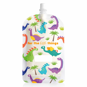 Sinchies reusable food pouches. 200ml dinosaur yoghurt pouch sold by Gumnut Kids.