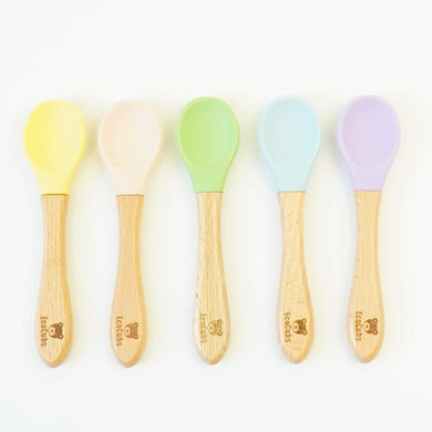 Plastic Free Spoons EcoCubs 5 pack Spoons Silicone and Beachwood