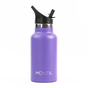 A Montiico double walled stainless steel insulated mini drink bottle in bright purple with a black easy sip lip