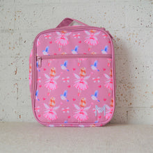 Load image into Gallery viewer, A MontiiCo insulated lunch bag in a fairy print which has fairies with a pink dress and pink wings and brown hair in a bun, blue birds flying, pink bows and pink hearts on a pink background. This is the front view.
