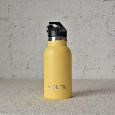 A Montiico double walled stainless steel insulated mini drink bottle in honeysuckle yellow with a black easy sip lip