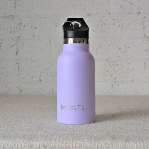 A Montiico double walled stainless steel insulated mini drink bottle in lavender with a black easy sip lip