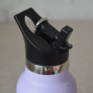 a Montiico double walled stainless steel insulated mini drink bottle in lavender with close up of a black easy sip lip