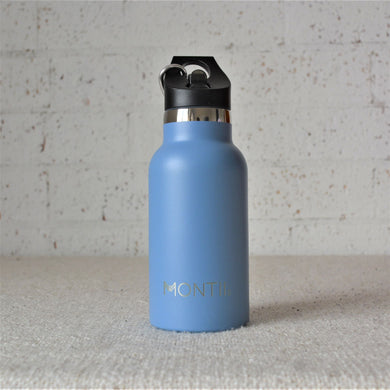 A Montiico double walled stainless steel insulated mini drink bottle in slate blue with a black easy sip lip