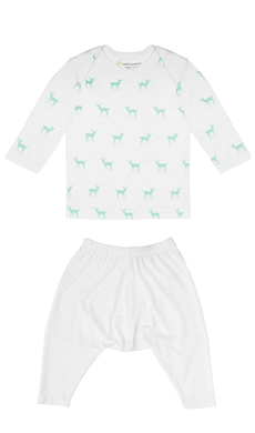 Bamboo Long Sleeve PJ Set - Deer Green