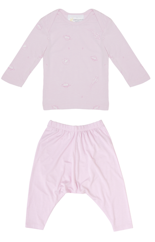 Bamboo Long Sleeve PJ Set - Pink Space
