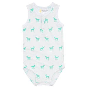 Petit Bamboo Sleeveless Romper Deer Green