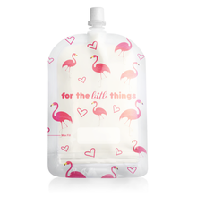 Load image into Gallery viewer, Sinchies 150ml Top Spout Reusable Yoghurt Pouch Flamingoes