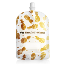 Load image into Gallery viewer, Sinchies 150ml Top Spout Reusable Yoghurt Pouch Gold Pineapples