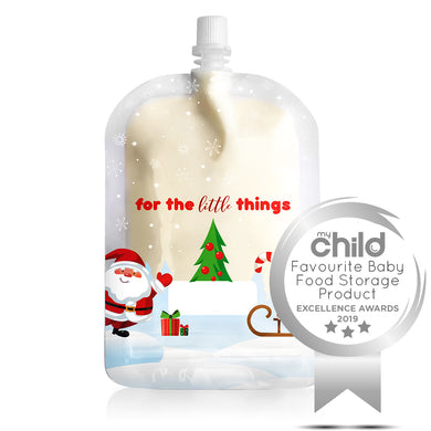 Sinchies. 150ml top spout reusable food pouch, Christmas design, sold separately by Gumnut Kids