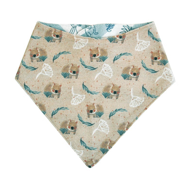 Organic Cotton Bandana Bib Wombat Australia Animals