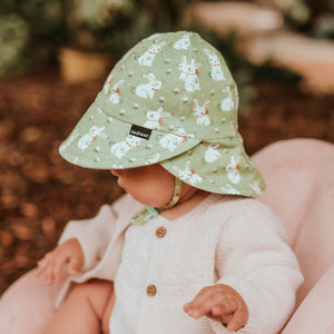 Bedhead hats. Bedhead baby legionnaire hat in Bunny print from the Bedhead Winter Originals 2021 collection, sold by Gumnut Kids, Bedhead stockist in Sydney.