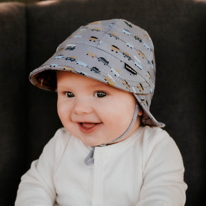 Bedhead hats. Bedhead baby legionnaire hat in trains print from the Bedhead Winter Originals 2021 collection, sold by Gumnut Kids.