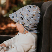 Load image into Gallery viewer, Bedhead hats. Bedhead baby legionnaire hat in trains print from the Bedhead Winter Originals 2021 collection, sold by Gumnut Kids, Bedhead hat stockist from Berowra, NSW.