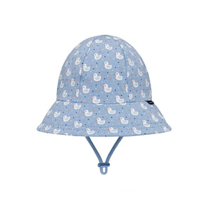 the front view of a Bedhead Toddler Bucket hat in a unisex ducks design