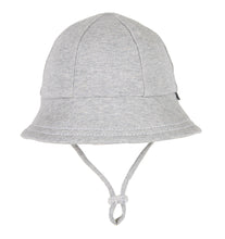 Load image into Gallery viewer, A stock image of a grey baby bucket hat by bedhead hats