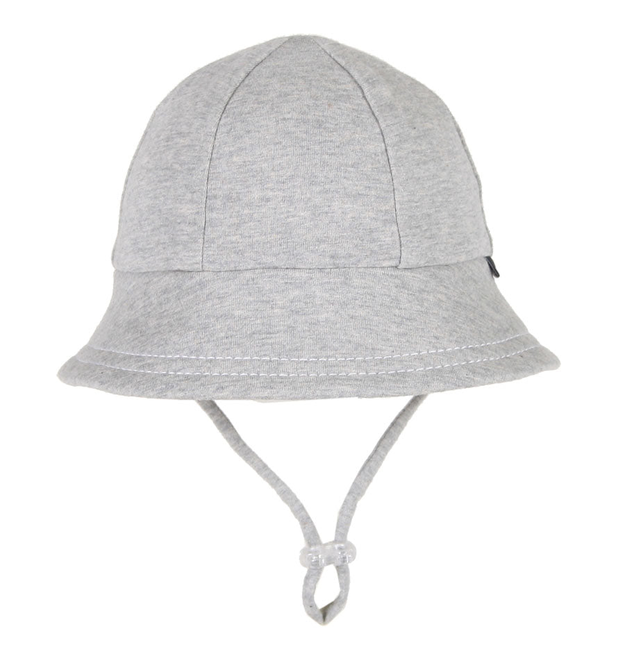 A stock image of a grey baby bucket hat by bedhead hats