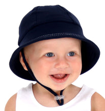 Load image into Gallery viewer, toddler boy wearing a baby bucket hat in a navy colour made by bedhead hats