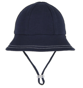 stock image of a navy baby bucket hat made by bedhead hats
