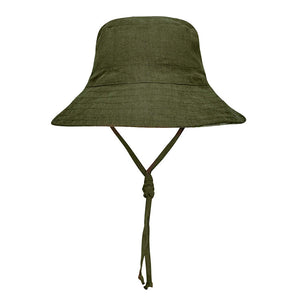 Bedhead hats heritage collection kids reversible linen sun hat olive front side
