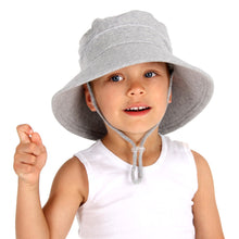 Load image into Gallery viewer, boy wearing a bedhead kids bucket hat in a grey blue colour