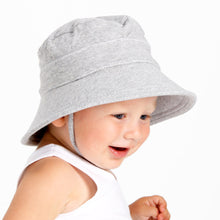 Load image into Gallery viewer, young boy wearing a grey bucket hat made by bedhead hats