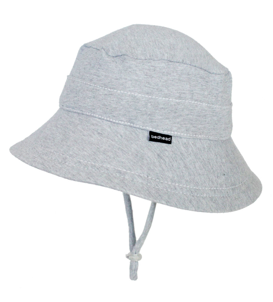 side view of a kids bucket hat by bedhead hats in grey marle