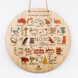 Buttonworks Wooden Wall Hanging featuring the Australian Alphabet for children's bedrooms and playrooms. Gumnut Kids is an online Buttonworks stockist in Berowra, NSW.