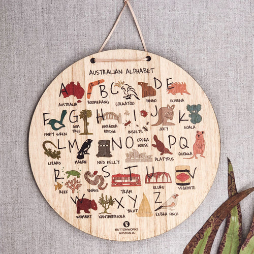 Buttonworks stockist. Buttonworks Australian alphabet wall hanging made ethically in Australian from sustainably sourced Australian timber. Australiana gifts for children.