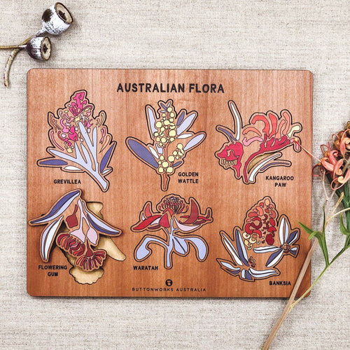 Buttonworks stockist. Buttonworks Australian flora puzzle with Australian flowering plants, made ethically in Australian from sustainably sourced Australian timber. Australiana gifts for children.