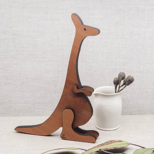 Buttonworks stockist. Buttonworks Roobi Kangaroo sculpture made ethically in Australian from sustainably sourced Australian timber. Australiana gifts for children.