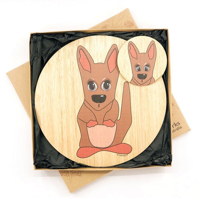 wooden place mat and matching coaster with a red kangaroo illustration that has been made in Australia