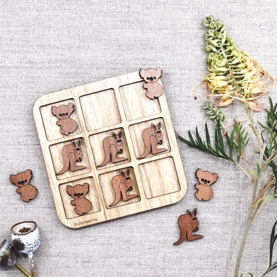 Australian made wooden kangaroo and koala game that is similar to naughts and crosses