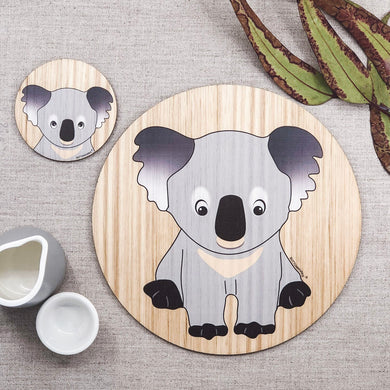 wooden place mat and coaster set with a koala that has been made in Australia