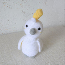 Load image into Gallery viewer, Crochet Cockatoo. Handmade Australian bird plush toy. Galah Australian baby shower present