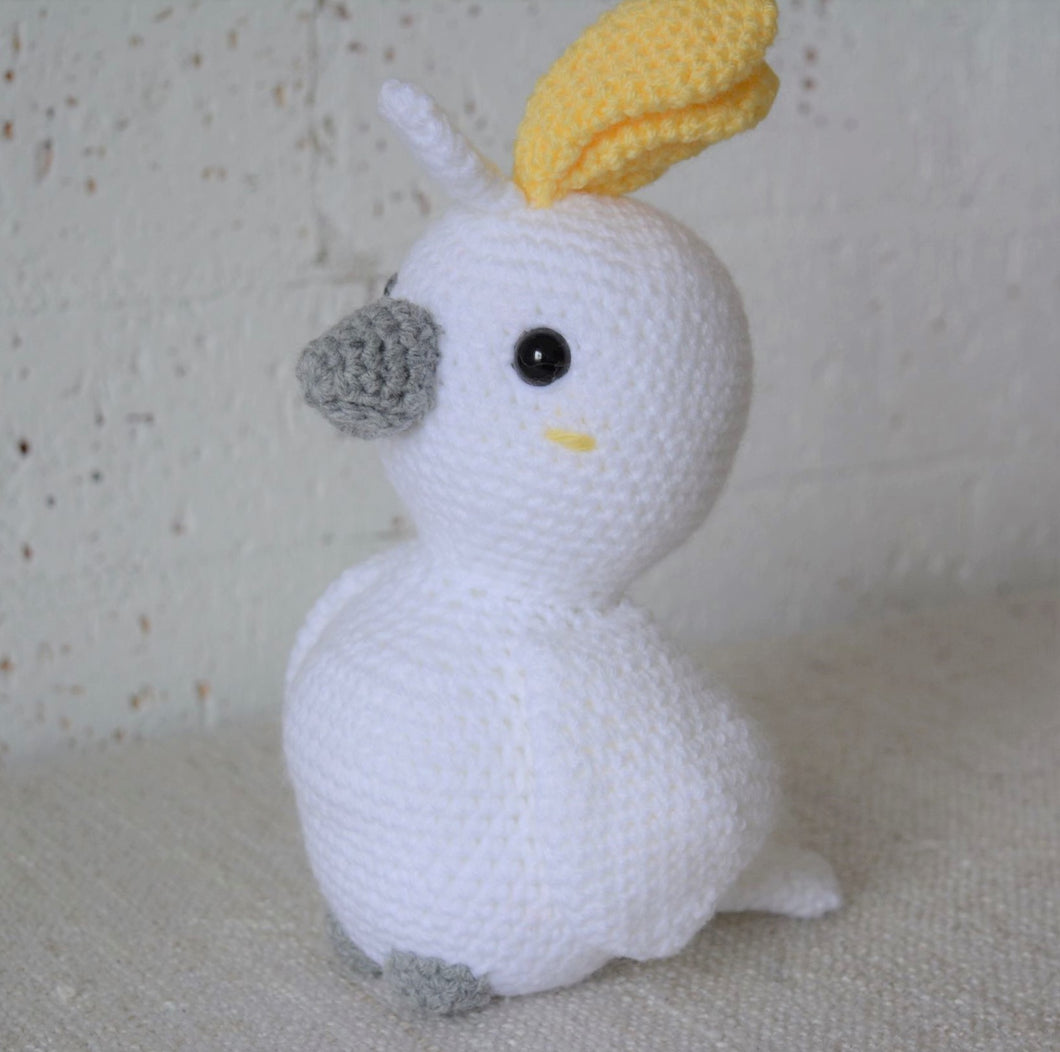 Crochet bird toy. Australian Cockatoo, handmade on the Central Coast. Australiana nursery decor available online from Gumnut Kids.