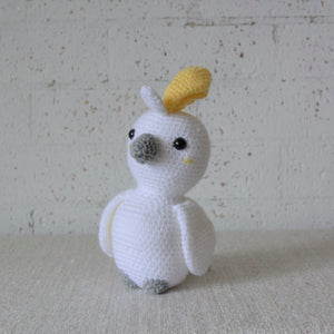 Crochet Australian Bird. The Cockatoo is handmade in Australia by Coastal Crochet Queen and sold by Gumnut Kids, Berowra, NSW.