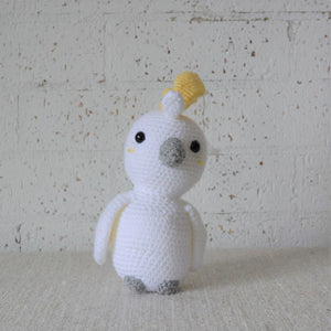 Kookaburra. Handmade crochet Cockatoo Australian bird toy. For Australian theme nursery and bedroom decor. Sold by Gumnut Kids, online children's store in Sydney.
