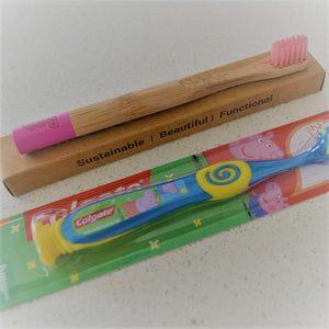 Bamboo Childrens Toothbrush The Boo Collective Pink