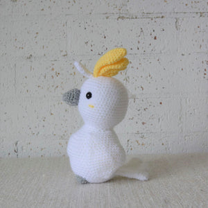 Australian bird toy. Crochet Cockatoo. Also know as the pink or grey cockatoo. Sold by Gumnut Kids, online store that specialises in children's Australiana gifts.