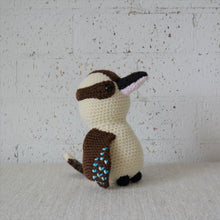 Load image into Gallery viewer,  Crochet Australian Bird. The Kookaburra is handmade in Australia by Coastal Crochet Queen and sold by Gumnut Kids, Berowra, NSW.
