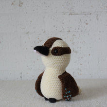 Load image into Gallery viewer,  Kookaburra. Handmade crochet Kookaburra Australian bird toy. For Australian theme nursery and bedroom decor. Sold by Gumnut Kids, online children's store in Sydney.