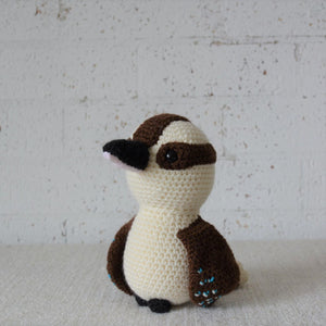 Kookaburra. Handmade crochet Kookaburra Australian bird toy. For Australian theme nursery and bedroom decor. Sold by Gumnut Kids, online children's store in Sydney.