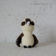 Load image into Gallery viewer, Crochet bird toy. Australian Kookaburra, handmade on the Central Coast. Australiana nursery decor available online from Gumnut Kids.