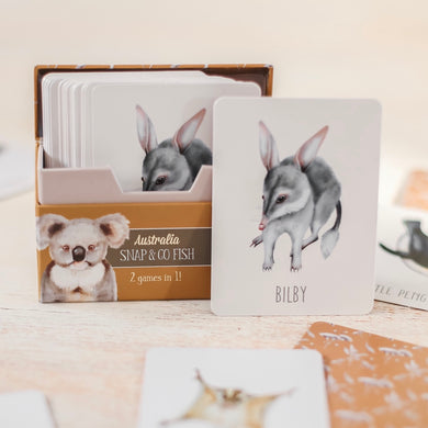 Modern Monty. Modern Monty Snap & Go Fish Australia Game. Australian Animal bilby card. Gumnut Kids is a Modern Monty stockist based in Berowra, NSW