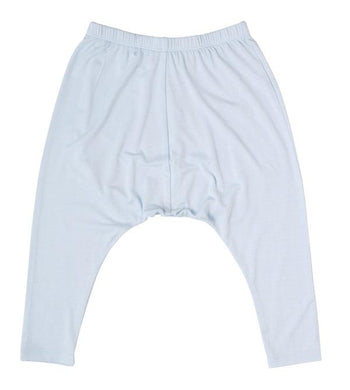 Petit Bamboo. Bamboo harem pants in baby blue, size 1, sold by Gumnut Kids