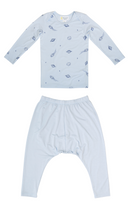 Load image into Gallery viewer, Petit Bamboo blue space long sleeve tee and blue harem pants