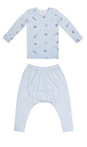 Petit Bamboo blue space long sleeve tee and blue harem pants