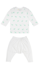 Load image into Gallery viewer, Petit Bamboo long sleeve tee in deer green and white harem pants