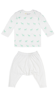 Petit Bamboo long sleeve tee in deer green and white harem pants